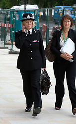 © licensed to London News Pictures. 12/07/2011. London, UK. Chief Constable of Thames VAlley Police Sara Thornton arriving at Portcullis House in Westminster today (12/07/2011) where Police are giving evidence to the Commons Home Affairs Committee on phone hacking. Photo credit should read Ben Cawthra/LNP