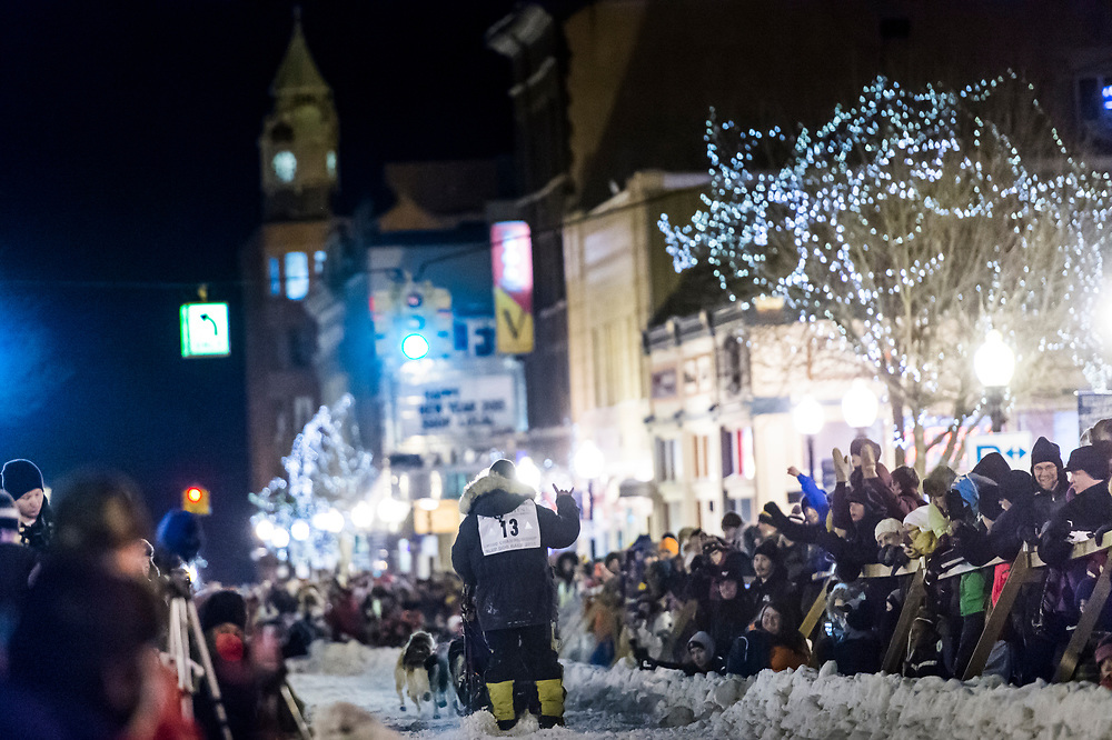 Scenes from the start of the UP 200 Sled Dog Championship and Midnight Run sled dog race in downtown Marquette, Michigan.