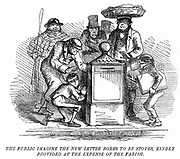 New letter boxes erected in London being mistaken for heating stoves!. Cartoon from 'Punch', London, March 1855. Engraving