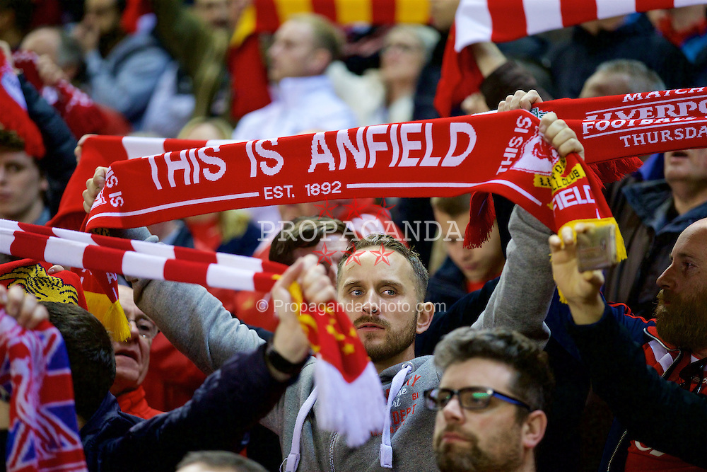 LIVERPOOL, ENGLAND - Thursday, October 1, 2015: Liverpool supporters before the UEFA Europa League Group Stage Group B match against FC Sion at Anfield. (Pic by David Rawcliffe/Propaganda)