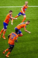 1. divisjon fotball 2018: Aalesund - Levanger (4-0). Aalesunds Holmbert Fridjonsson (midten t.h.) feirer 2-0 sammen med Jørgen Hatlehol (bak), Oddbjørn Lie og Pape Habib Gueye i kampen i 1. divisjon i fotball mellom Aalesund og Levanger på Color Line Stadion.