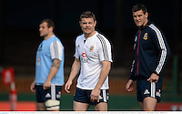 28 June 2013; Brian O'Driscoll, left, and Jonathan Sexton, British & Irish Lions, during the captain's run ahead of their 2nd test match against Australia on Saturday. British & Irish Lions Tour 2013, Captain's Run. Scotch College, Hawthorn, Melbourne, Australia. Picture credit: Stephen McCarthy / SPORTSFILE