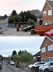 © Licensed to London News Pictures.18/11/2017.<br /> Orpington, UK. This combination image shows (top from August 2015) the rubbish pile at the infamous Waste4fuel rubbish site in Orpington and (lower) from today  nearly cleared of waste. It is due to be totally clear of waste on Monday. Work began to clear the site from 27.000 tons of waste a year ago at Cornwall Drive, Now the site has about 27 tons of rubbish left to clear. Altogether the clearance cost of the waste mountain has come to around £4.5 million with most of the money coming from government and the Enviroment Agency.<br /> Photo credit: Grant Falvey/LNP