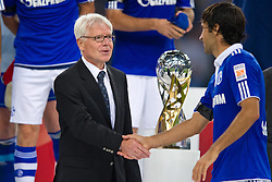 23.07.2011, Veltins arena, Gelsenkirchen, GER, Supercup, FC Schalke 04 vs. Borussia Dortmund, im Bild Dr. Reinhard Rauball (Ligapraesident DFL) gratuliert Raul (#7 Schalke) // during the match FC Schalke 04 vs. Borussia Dortmund at Veltins arena 2011/07/23    EXPA Pictures © 2011, PhotoCredit: EXPA/ nph/  Kurth       ****** out of GER / CRO  / BEL ******