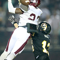 Thomas Wells | BUY at PHOTOS.DJOURNAL.COM<br /> New Albany receiver Isaiah Powell, left, tris to keep Pontotoc defender Trevor Morgan away from the pass in the fourth quarter on Friday.