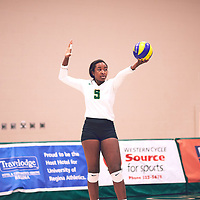 4th year outside hitter, Diana Lumbala (9) of the Regina Cougars during the Women's Volleyball home game on Fri Jan 18 at Centre for Kinesiology, Health & Sport. Credit: Arthur Ward/Arthur Images