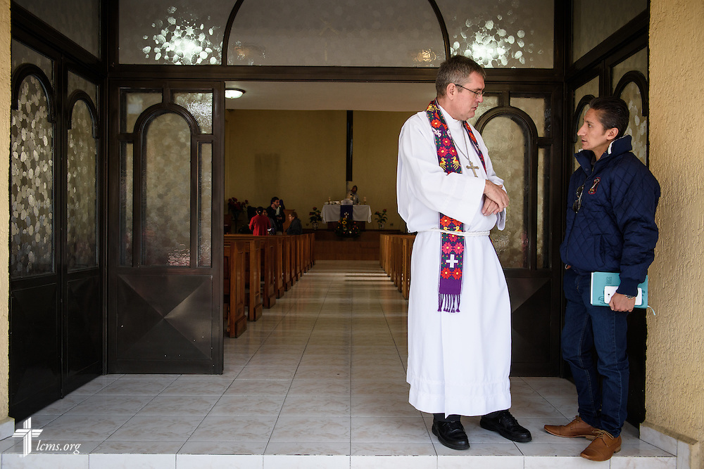 The Rev. Daniel Conrad, LCMS missionary to Mexico, chats with a guest following worship at the Lutheran Church of San Pedro on Sunday, Feb. 14, 2016, in Mexico City, Mexico. LCMS Communications/Erik M. Lunsford