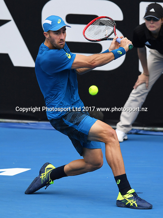 USA's Steve Johnson during his first round singles match at the ASB Classic. ATP Mens Tennis Tournament. ASB Tennis Centre, Auckland, New Zealand. Monday 9 January 2017. © Copyright photo: Andrew Cornaga / www.photosport.nz