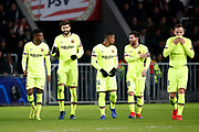Barcelona player Nelson Semedo, Barcelona player Gerard Pique, Barcelona player Malcom, and Barcelona player Lionel Messi after the 0-2 of Barcelona player Gerard Pique during the UEFA Champions League, Group B football match between PSV Eindhoven and FC Barcelona on November 28, 2018 at Philips Stadium in Eindhoven, Netherlands - Photo Joep Leenen / Pro Shots / ProSportsImages / DPPI