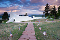 US Flags Along Path to Chapel at Vietnam Veterans Memorial State Park, Angel Fire, New Mexico