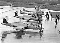 Two CM 170 Super Magister Jets sit alongside two de Havilland Vampire Jets at Casement Aerodome, 11/09/1975 (Part of the Independent Newspapers Ireland/NLI Collection).