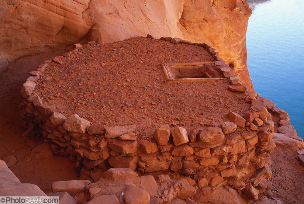 This Anasazi kiva (ceremonial room) has been restored at Three Roof Ruin, on Escalante River Arm of Lake Powell, in Glen Canyon National Recreation Area, Utah, USA.
