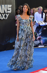 Image ©Licensed to i-Images Picture Agency. 24/07/2014. London, United Kingdom. <br /> <br /> Pictured is actress Zoe Saldana.<br /> <br /> Guardian's of the Galaxy film premiere at Leicester Square, London, UK.<br /> <br /> Picture by Ben Stevens / i-Images