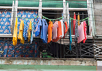 YANGON, MYANMAR - CIRCA DECEMBER 2013: Typical balcony in the streets of Yangon