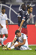 CHICAGO, IL - AUGUST 02: MLS All-Star and Sporting KC Defender Graham Zusi (8) touches Real Madrid defender Theo Hernandez (15) in the first half during a soccer match between the MLS All-Stars and Real Madrid on August 2, 2017, at Soldier Field, in Chicago, IL. (Photo by Patrick Gorski/Icon Sportswire)