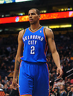 Feb. 4, 2011; Phoenix, AZ, USA; Oklahoma City Thunder guard Thabo Sefolosha (2) reacts on the court against the Phoenix Suns at the US Airways Center. The Thunder defeated the Suns 111-107. Mandatory Credit: Jennifer Stewart-US PRESSWIRE
