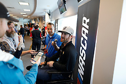 March 1, 2019 - Las Vegas, NV, U.S. - LAS VEGAS, NV - MARCH 01: Corey LaJoie (32) Archie St Hilaire Ford Mustang answers questions from the media in the ThriveHive Digital Center prior to practice and qualifying for the Monster Energy NASCAR Cup Series Pennzoil 400 on March 1, 2019, at Las Vegas Motor Speedway in Las Vegas, NV. (Photo by Joe Buglewicz/Icon Sportswire) (Credit Image: © Joe Buglewicz/Icon SMI via ZUMA Press)