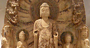 Detail from a votive Buddhist Stele.  550-577 AD. Northern Qi dynasty (550-577 A.D) polychrome on white marble. China, Hebei (province)