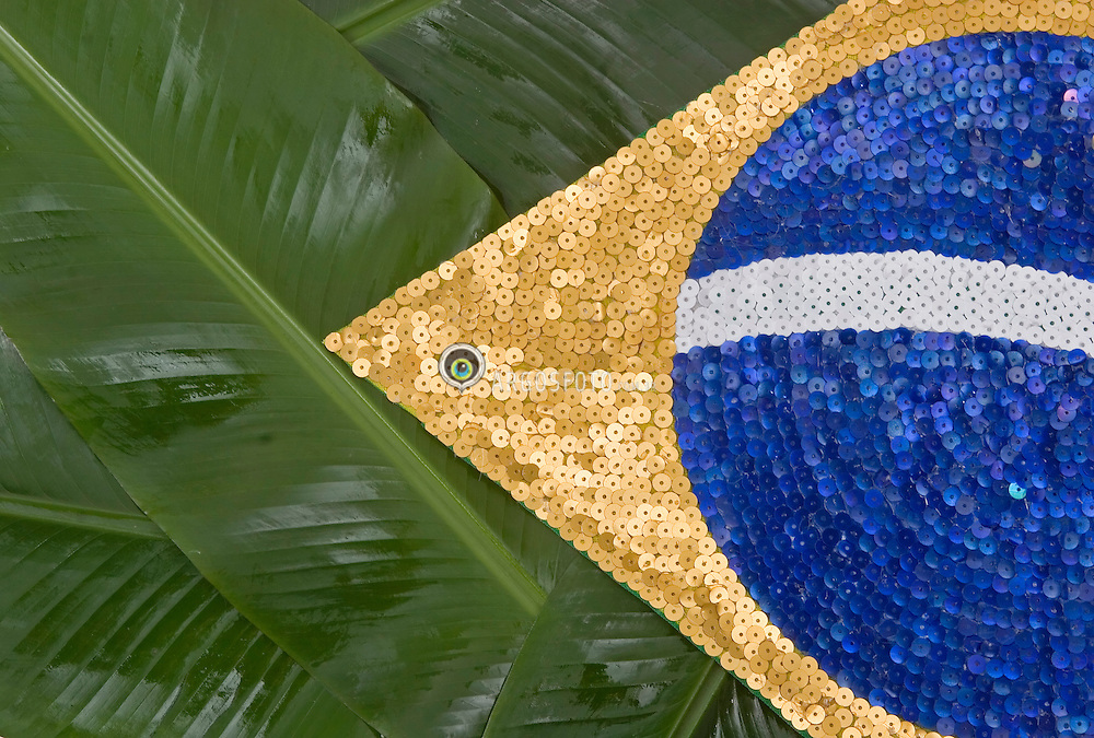 Bandeira do Brasil estilizada, feita com folhas de bananeira e lantejoulas./ Stylized Brazil flag, made with banana leaves and sequins. Ano 2005.Foto Adri Felde/Argosfoto