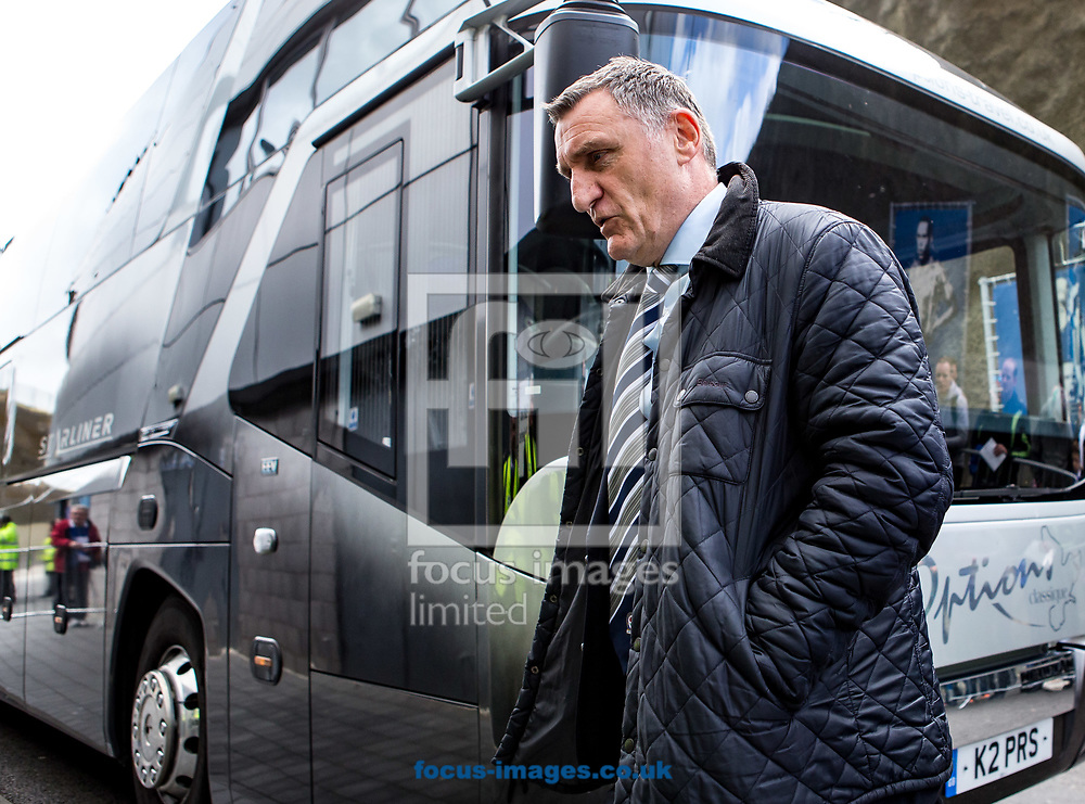 Tony Mowbray manager of Blackburn Rovers arrives during the Sky Bet Championship match at the American Express Community Stadium, Brighton and Hove<br /> Picture by Liam McAvoy/Focus Images Ltd 07413 543156<br /> 01/04/2017
