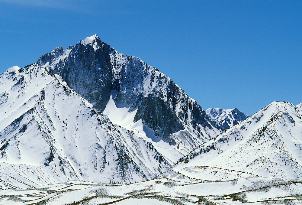 Mount Morrison with early winter snow; Inyo National Forest, Sierra Nevada Mountains, California.
