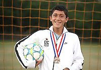 (CH) Carlos Bonilla, player of the Sunrise Elite U14 soccer team, poses at Flamingo park on April 12, 2012. Staff photo/Cristobal Herrera