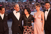 actor Johnny Depp, producer John Lesher, Sue Kroll, actress Dakota Johnson, director Scott Cooper at the gala screening for the film Black Mass at the 72nd Venice Film Festival, Friday September 4th 2015, Venice Lido, Italy.