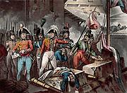 Peninsular War: Duke of Wellington (Arthur Wellesley 1769-1852) at the taking of Ciudad Rodrigo 1812.  Drawn and etched by William Heath, aquatinted by JC Stadler, published c1818.