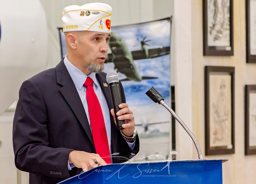 Department of Alabama District 33 Commander Matt Gaff speaks during the Mobile SWS Town Hall at USS Alabama Battleship Memorial Park in Mobile, Ala., on Friday, April 3, 2017. (Photo by Carmen K. Sisson/Cloudybright)