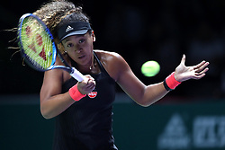 October 22, 2018 - Singapore, Singapore - NAOMI OSAKA of Japan in action against Sloane Stephens on day 2 of the WTA Finals at the Singapore Indoor Stadium. Stephens won 2:1. (Credit Image: © Paul Miller/ZUMA Wire)