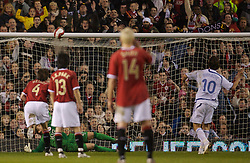 Manchester, England - Tuesday, March 13, 2007: Europe XI's Zlatan Ibrahimovic hits the cross-bar from the penalty kick against Manchester United during the UEFA Celebration Match at Old Trafford. (Pic by David Rawcliffe/Propaganda)