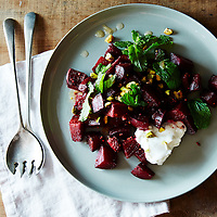 spiced beet salad with citrus ginger dressing