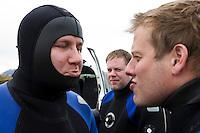 Andri og Freyr orðnir svolítið köfunarveikir og Elli fylgist með.
