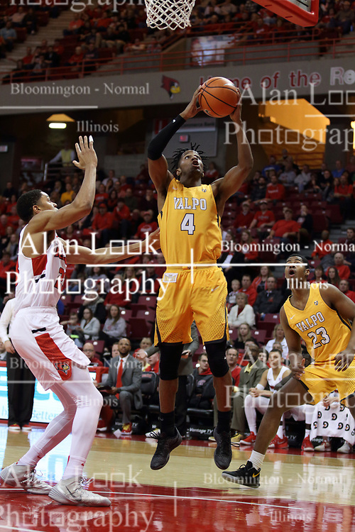 27 January 2018:  Bakari Evelyn gets off a shot in front of William Tinsley during a College mens basketball game between the Valparaiso Crusaders and Illinois State Redbirds in Redbird Arena, Normal IL