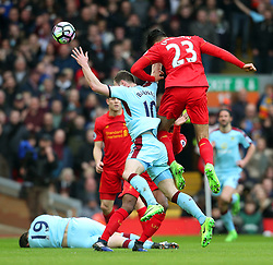 Emre Can of Liverpool challenges Ashley Barnes of Burnley - Mandatory by-line: Matt McNulty/JMP - 12/03/2017 - FOOTBALL - Anfield - Liverpool, England - Liverpool v Burnley - Premier League