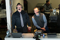 KELOWNA, CANADA - MARCH 3: Gord McGarva and Regan Bartell in the press box  on March 3, 2018 at Prospera Place in Kelowna, British Columbia, Canada.  (Photo by Marissa Baecker/Shoot the Breeze)  *** Local Caption ***