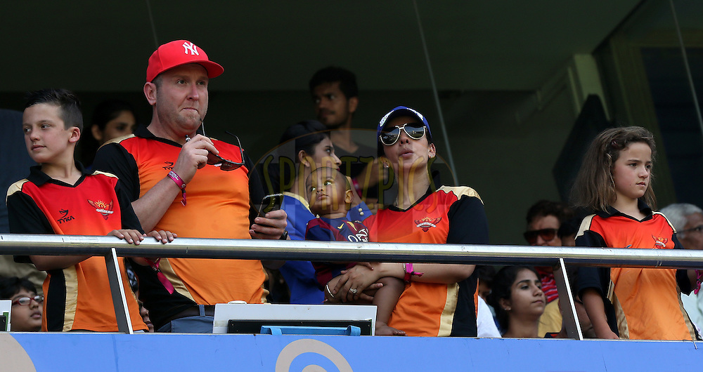 Ayesha Mukherji wife of Sunrisers Hyderabad captain Shikhar Dhawan  during match 23 of the Pepsi IPL 2015 (Indian Premier League) between The Mumbai Indians and The Sunrisers Hyferabad held at the Wankhede Stadium in Mumbai India on the 25th April 2015.<br /> <br /> Photo by:  Sandeep Shetty / SPORTZPICS / IPL