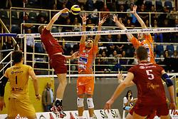 20141029 BEL: Eredivisie, Callant Antwerpen - Volley Behappy2 Asse - Lennik: Antwerpen<br />Martijn Colson (18) of Callant Antwerpen, Robin Overbeeke (11) of Volley behappy2 Asse - Lennik, Jasper Diefenbach (10) of Volley behappy2 Asse - Lennik<br />©2014-FotoHoogendoorn.nl / Pim Waslander