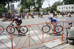 Tiffany Cromwell (AUS) of CANYON//SRAM Racing and Katie Hall (USA) of UnitedHealthcare Cycling Team exit a corner during the fourth, 70 km road race stage of the Amgen Tour of California - a stage race in California, United States on May 22, 2016 in Sacramento, CA.