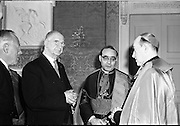17/08/1962<br /> 08/17/1962<br /> 17 August 1962<br /> New Papal Nuncio presents credentials to the President at Aras an Uachtarain. The new Papal Nuncio His Excellency the Most Rev. Giuseppe Sensi, Titular Archbishop of Sardi. presented his Letter of Credence to President Eamon de Valera at the ceremony. Picture shows (l-r): President Eamon de Valera; His Excellency the Most Rev. Giuseppe Sensi and Archbishop of Dublin Dr McQuaid.