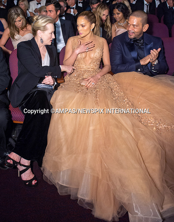 22.02.2015; Hollywood, California: 87TH OSCARS - JENNIFER LOPEZ and MERYL STREEP<br /> <br /> <br /> during the Annual Academy Awards Telecast, Dolby Theatre, Hollywood.<br /> Mandatory Photo Credit: NEWSPIX INTERNATIONAL<br /> <br />               **ALL FEES PAYABLE TO: &quot;NEWSPIX INTERNATIONAL&quot;**<br /> <br /> PHOTO CREDIT MANDATORY!!: NEWSPIX INTERNATIONAL(Failure to credit will incur a surcharge of 100% of reproduction fees)<br /> <br /> IMMEDIATE CONFIRMATION OF USAGE REQUIRED:<br /> Newspix International, 31 Chinnery Hill, Bishop's Stortford, ENGLAND CM23 3PS<br /> Tel:+441279 324672  ; Fax: +441279656877<br /> Mobile:  0777568 1153<br /> e-mail: info@newspixinternational.co.uk