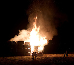 Guy Fawkes Night, Tuesday 5th November 2019<br /> <br /> Pictured: A huge bonfire is lit in East Calder on Guy Fawkes night. People can be seen watching including a young child<br /> <br /> Alex Todd | Edinburgh Elite media