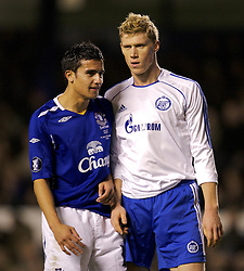 Liverpool, England - Wednesday, December 5, 2007: Everton's Tim Cahill and Zenit St. Petersburg's Pavel Pogrebnyak during the UEFA Cup Group A match at Goodison Park. (Photo by David Rawcliffe/Propaganda)