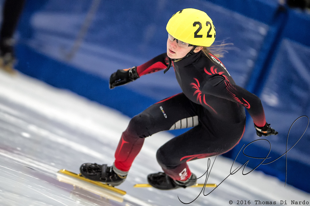 March 19, 2016 - Verona, WI - Rebecca Szumski, skater number 225 competes in US Speedskating Short Track Age Group Nationals and AmCup Final held at the Verona Ice Arena.