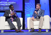 Aug 29, 2018; Los Angeles, CA, USA; Jim Hill (left) interviews  Los Angeles Rams coach Sean McVay during the Kickoff for Charity Luncheon at the InterContinental Los Angeles Downtown Hotel.
