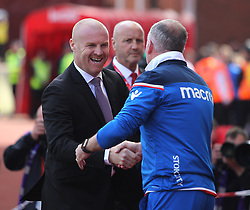 Burnley manager Sean Dyche (L) and Stoke City manager Paul Lambert shake hands - Mandatory by-line: Jack Phillips/JMP - 22/04/2018 - FOOTBALL - Bet365 Stadium - Stoke-on-Trent, England - Stoke City v Burnley - English Premier League