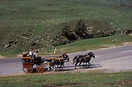 Old Mail Coach, Horsedrawn Carriage, Albula Pass Road, Alps, Graubuenden Canton, Switzerland