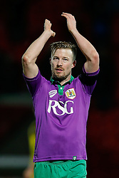 Wade Elliott of Bristol City applauds the away fans after the match ends in a 1-1 draw meaning a Tuesday night replay next week - Photo mandatory by-line: Rogan Thomson/JMP - 07966 386802 - 03/01/2015 - SPORT - FOOTBALL - Doncaster, England - Keepmoat Stadium - Doncaster Rovers v Bristol City - FA Cup Third Round Proper.