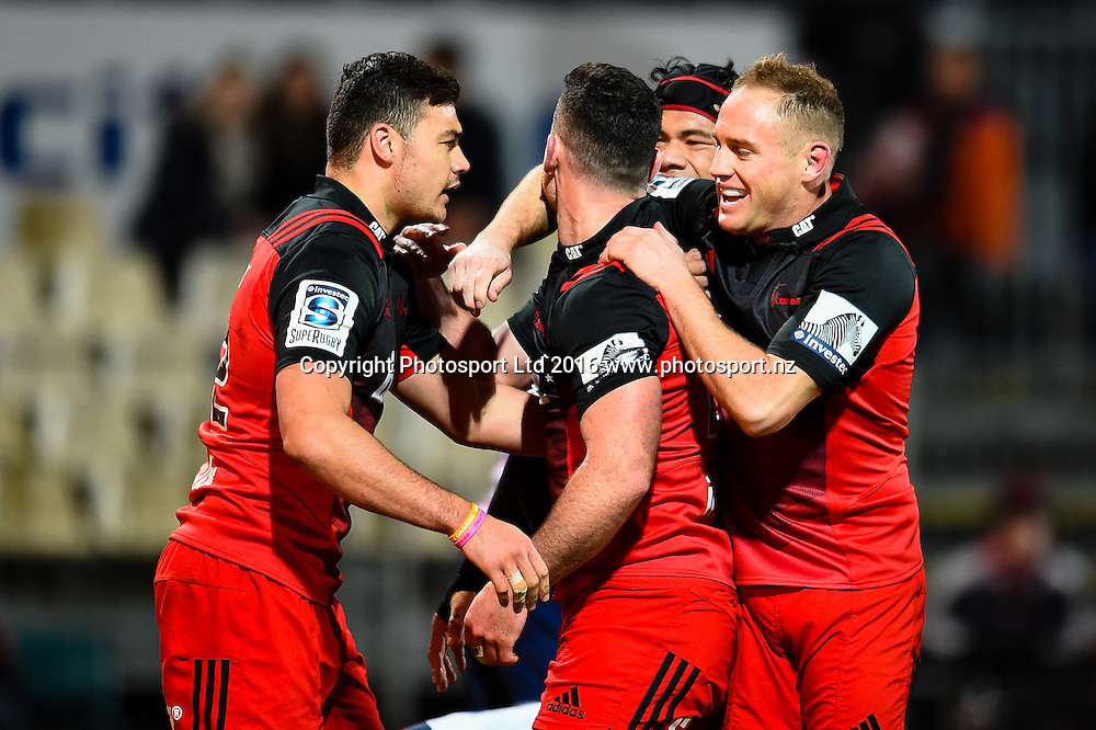The crusaders celebrates Ryan Crotty try during the Super Rugby Match, Crusaders V Rebels, AMI Stadium, Christchurch, New Zealand. 9th July 2016. Copyright Photo: John Davidson / www.photosport.nz