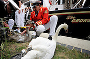 20/07/2009 A quirky Thames tradition has been honoured by the presence of the Queen for the first time. Her Majesty viewed the Swan Upping ceremony by boarding a classic steam launch at Boveney Lock near Eton, and travelling to Oakley Court in Windsor